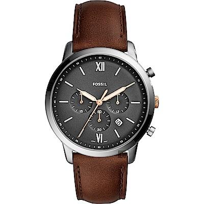 FOSSIL NEUTRA 時尚流行計時手錶(FS5408)-灰x咖啡錶帶/44mm