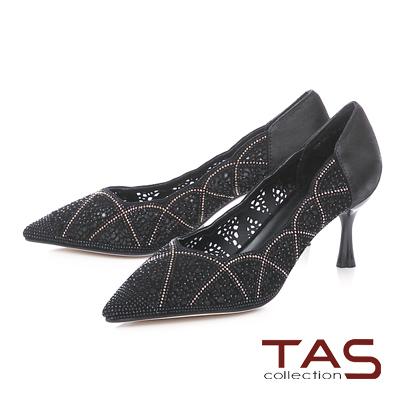TAS雕花水鑽透膚尖頭高跟鞋-典雅黑