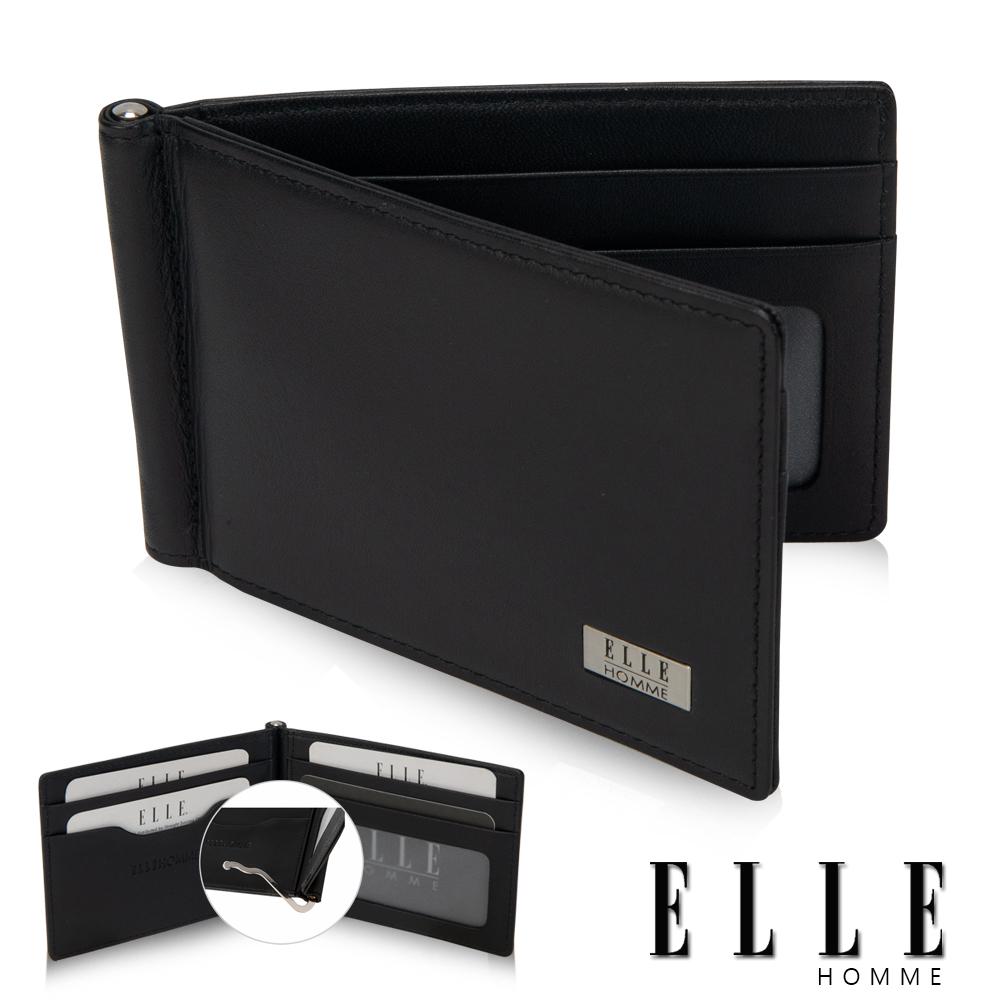 ELLE HOMME 軟牛皮簡易型4卡窗格名片鈔票夾設計短夾- 黑色