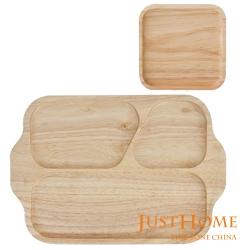 【Just Home】橡膠木餐盤2入組-輕食三格餐盤+方形托盤(台灣製)