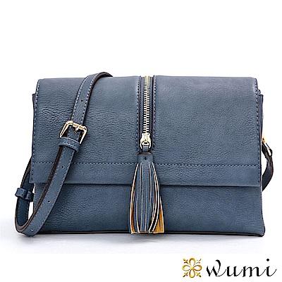 WuMi 無米 喬安娜率性流蘇小方包 復古藍