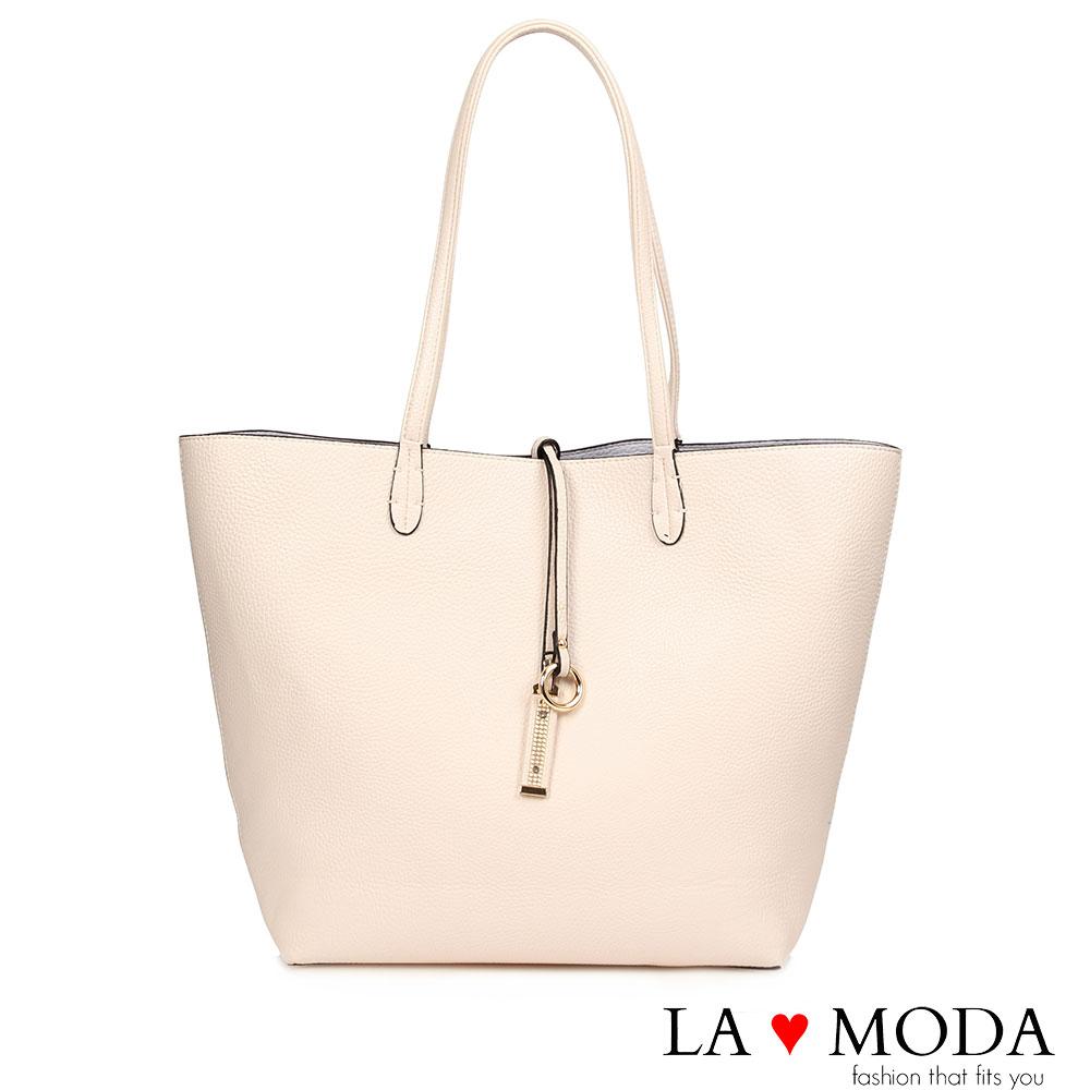La Moda快時尚~經典品牌不敗款雙面正反兩用防水托特子母包(淺粉)