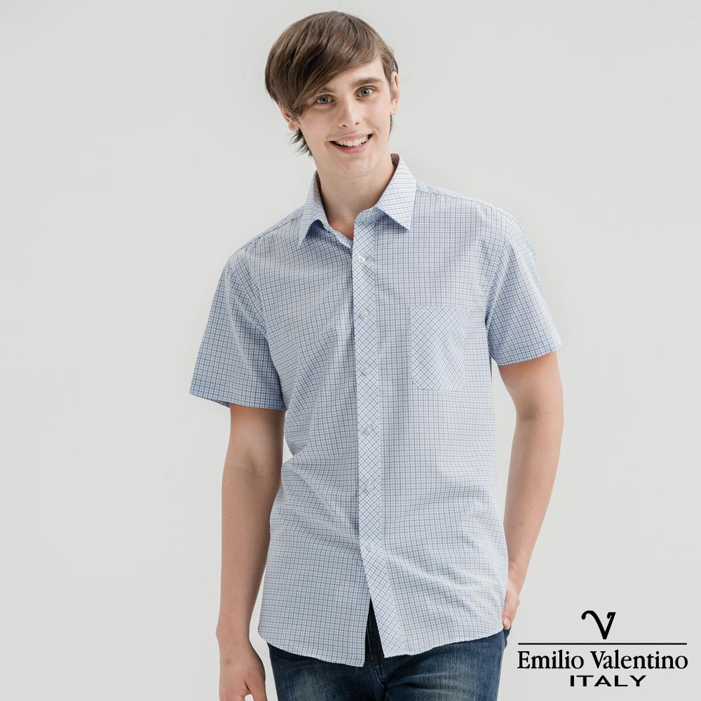 Emilio Valentino范倫提諾英倫簡約短袖襯衫-淺藍細格
