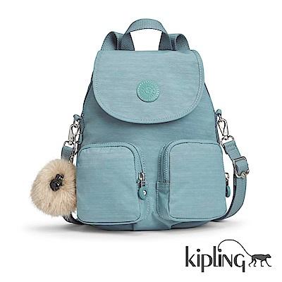 Kipling 後背包 紋路質感淺藍-大