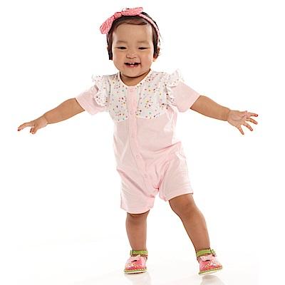 愛的世界 MYBABY 純棉荷葉拚接短袖連身褲/6M~1歲