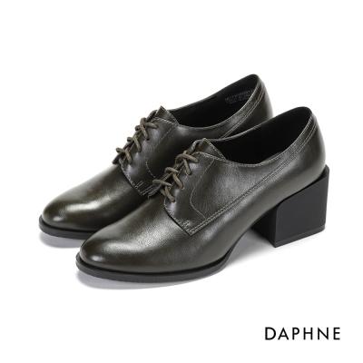 達芙妮DAPHNE 休閒鞋-繫帶拼接粗高跟牛津鞋-橄欖綠