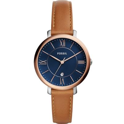 FOSSIL Jacqueline簡約時尚真皮手錶(ES4274)-藍x玫瑰金/36mm