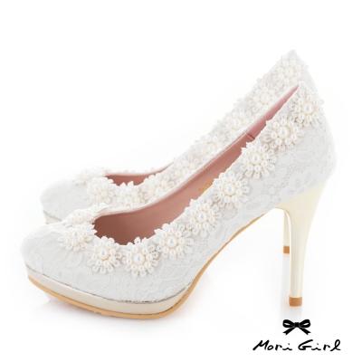 Mori girl  蕾絲珍珠花飾高跟婚鞋 白