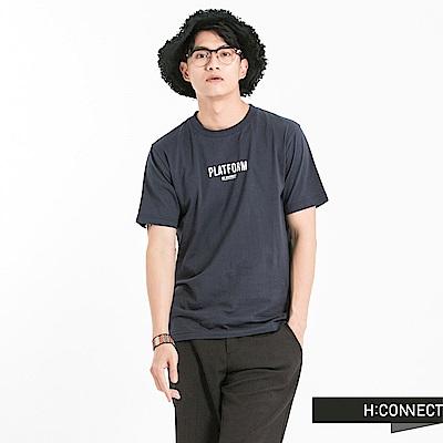 H:CONNECT 韓國品牌 男裝-圓領系列字母T-Shirt-藍