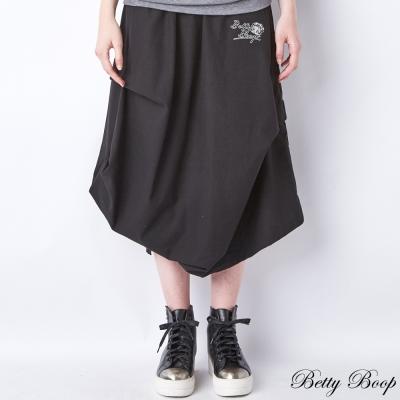 Betty Boop 抓皺側開衩口袋棉麻長裙(共二色)