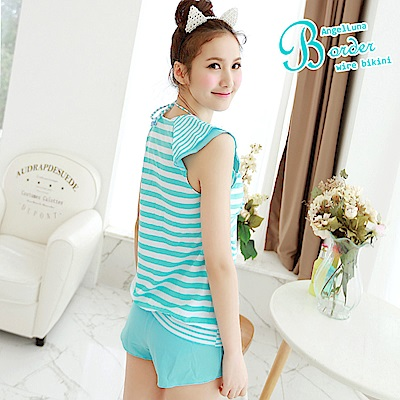 【AngelLuna日本泳裝】簡約條紋四件式比基尼泳衣-V領藍色