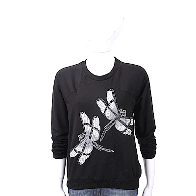 BLUGIRL-FOLIES 蜻蜓刺繡串珠飾黑色棉質運動衫