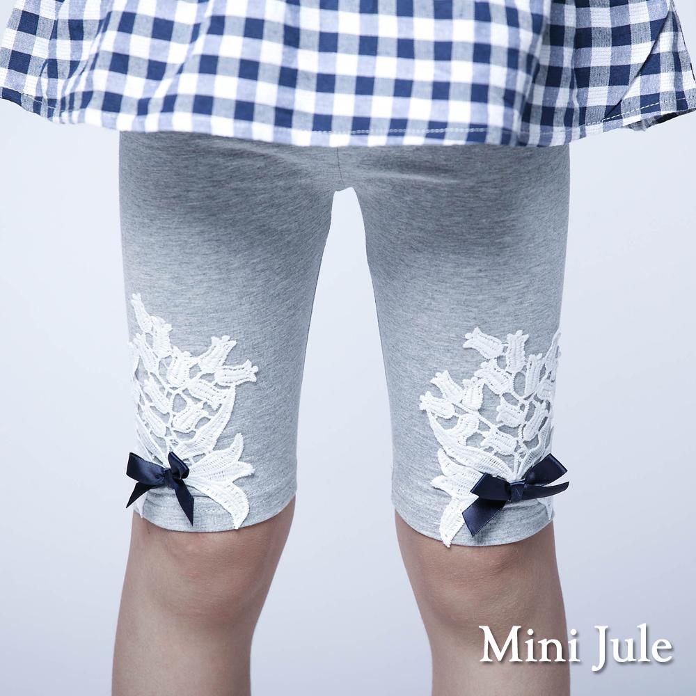Mini Jule-內搭褲 花朵蕾絲堆疊蝴蝶結內搭褲(灰)