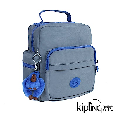 Kipling 後背包 復古藍撞色素面-小