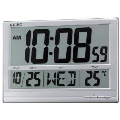 SEIKO 精工 溫度/星期日期 數位電子鐘(QHL056S)-銀-38x26cm