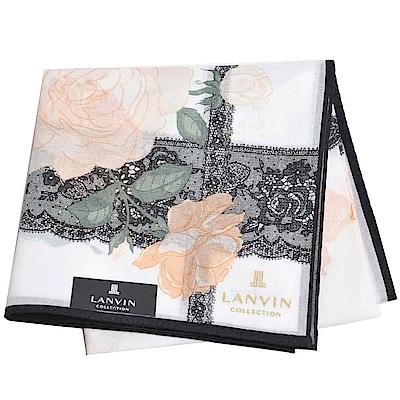 LANVIN 經典品牌玫瑰蕾絲圖騰燙金LOGO大帕領巾(橘/白系)