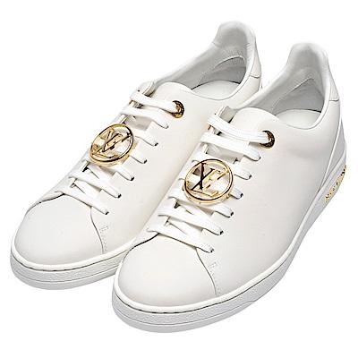 LV 品牌Frontrow系列金屬字母LOGO圓形標誌滑面小牛皮運動鞋(白-37.5)