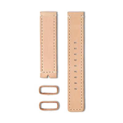 22 植揉皮革車線錶帶-裸色-20mm