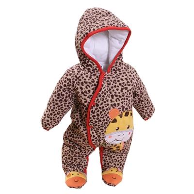 豹紋加厚鋪棉連帽包腳連身衣 k60274