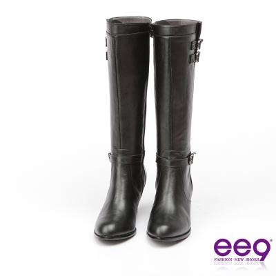 ee9 MIT經典手工~低調簡約金屬扣環繫帶素面粗跟長筒靴*黑色
