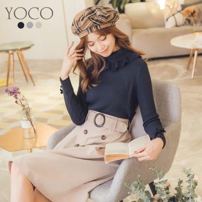 東京著衣-yoco 輕甜女孩多色荷葉波浪針織上衣-S.M.L(共三色)