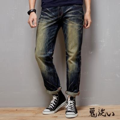 鬼洗 BLUE WAY 口袋反折低腰直筒褲-復古藍