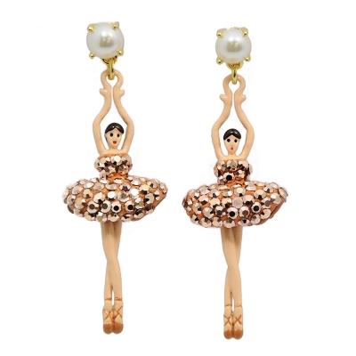 Les Nereides 優雅芭蕾舞女孩系列 珍珠紅銅色水鑽舞者耳針式耳環
