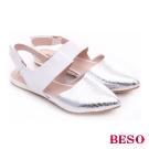 BESO 時尚核心 金箔動物紋前包後空魔鬼粘涼鞋 銀