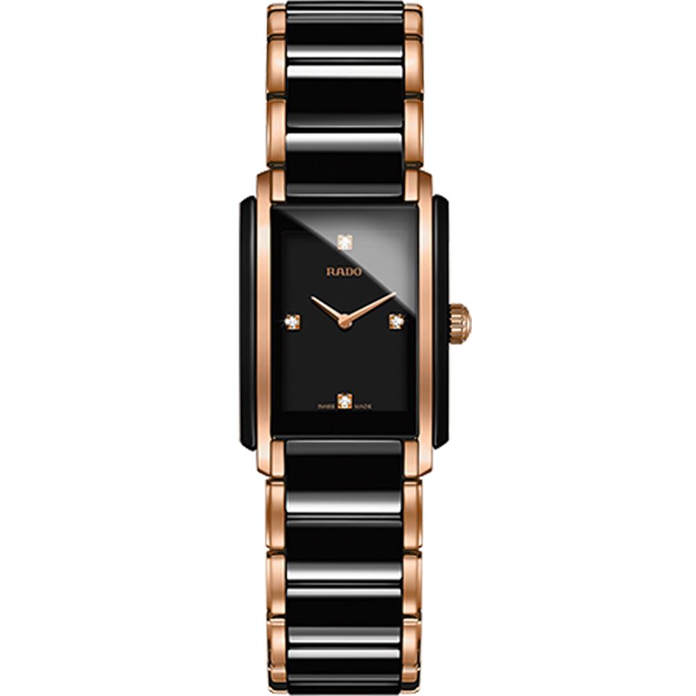 RADO Integral 精密陶瓷系列腕錶-黑x玫瑰金色/23x33mm