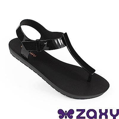 Zaxy 巴西 女 繽紛原色T字涼鞋-黑色