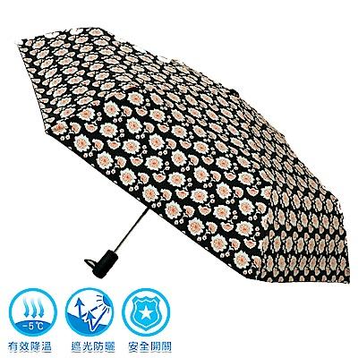 2mm 100%遮光 黑膠降溫多段式自動開收傘 (花朵)