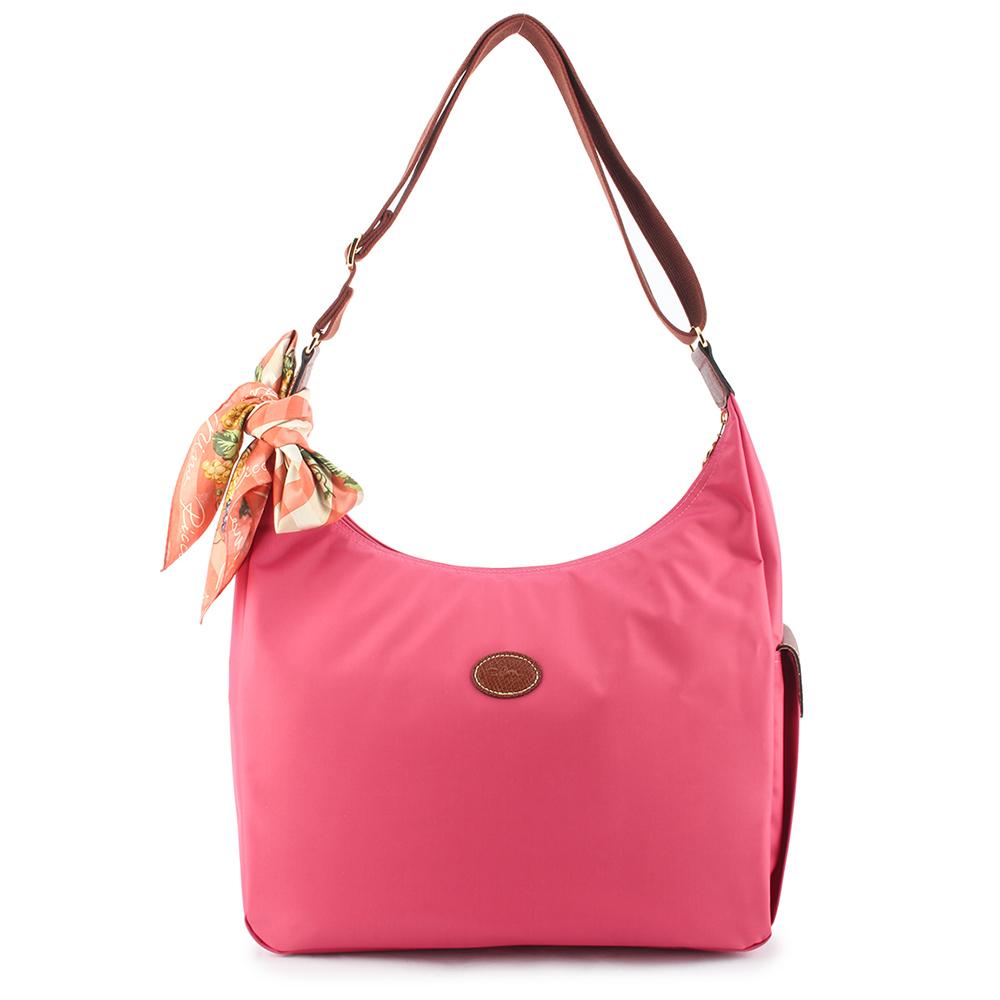 Longchamp 豔彩繽紛大斜背包-山茶紅(加贈帕巾)