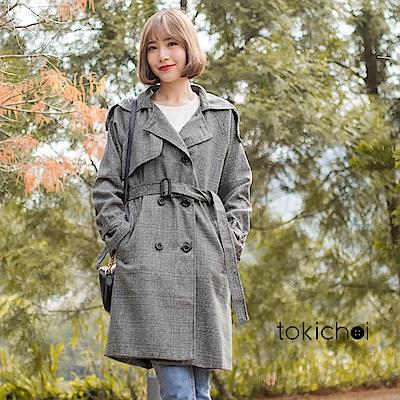 東京著衣 英倫時尚學院格子風衣外套-S.M(共一色)