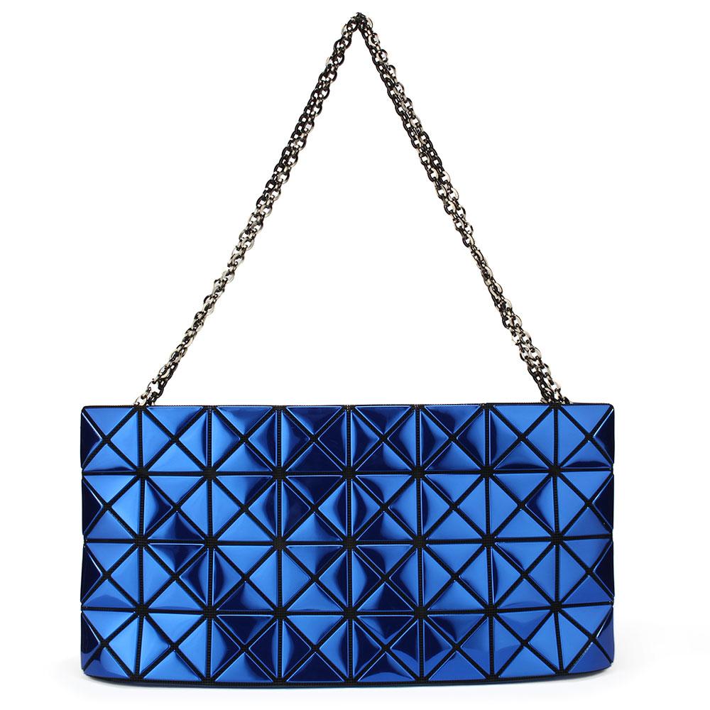 ISSEY MIYAKE三宅一生BAOBAO金屬鏡面方格4x8銀鏈肩背側背包-藍