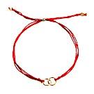 【Dogeared】美國品牌 金色雙圈 紅絲線手鍊