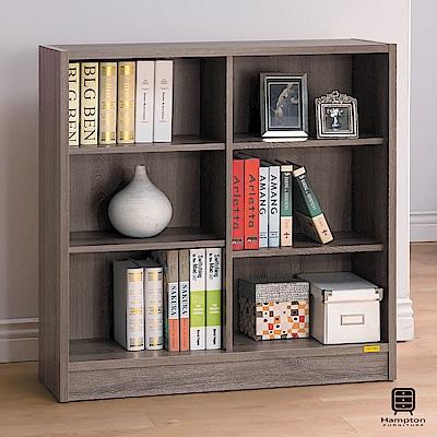 漢妮Hampton尼爾系列深木色六格寬書櫃-90x29.5x90.5cm