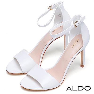 ALDO 原色真皮一字金屬繫踝釦帶細高跟涼鞋~氣質白色