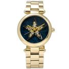 Marc Jacobs Dotty 璀璨星芒閃耀晶鑽不鏽鋼手錶-藍綠x鍍金/33mm