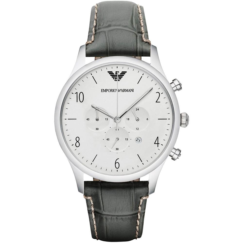 Emporio Armani Classic 紳士復刻經典計時腕錶-銀x灰/43mm