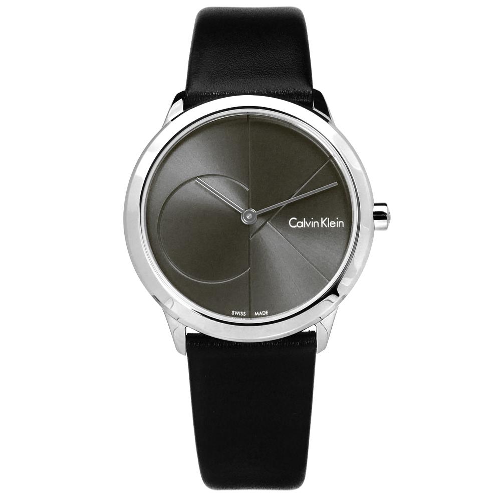 CK minimal經典簡約大CK瑞士機芯防水皮革手錶-灰x黑35mm
