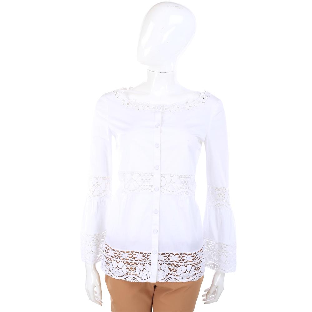 PHILOSOPHY-AF 白色織花拼接長袖上衣