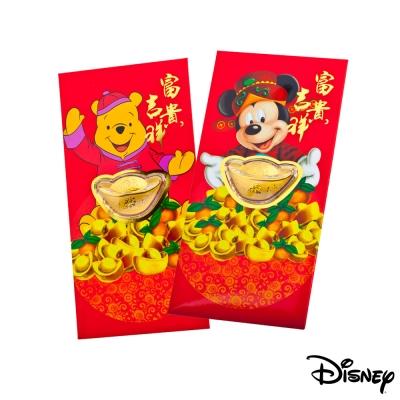 Disney迪士尼系列金飾-黃金元寶紅包袋-富貴米奇+平安維尼款