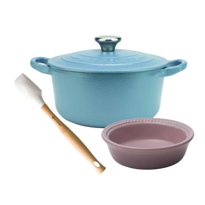 LE-CREUSET-圓鐵鍋-16cm-鋼頭-矽膠V小鏟-瓷器圓派盤-13-cm
