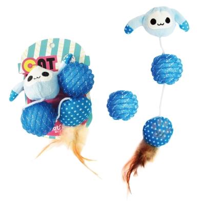 寵喵樂~逗貓玩具~兔子 球 羽毛玩具~一組 LWT~88186