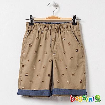 bossini男童-印花輕便短褲01卡其