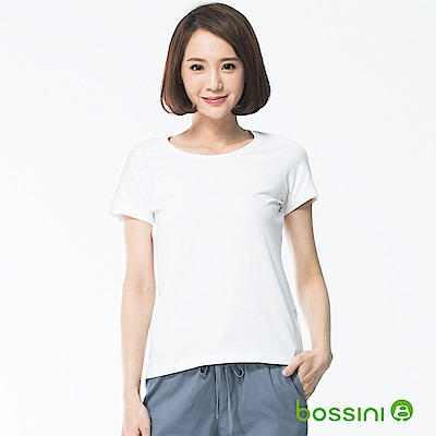 bossini女裝-素面彈性圓領T恤01白