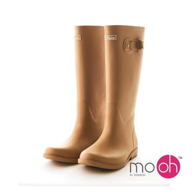 mo.oh 愛雨天-素面柔軟皮帶搭扣長筒雨鞋-棕色