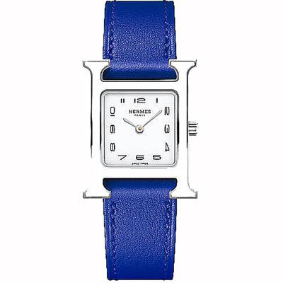 HERMES H-OUR經典H小型白框款時尚腕錶寶藍色錶帶21x21mm