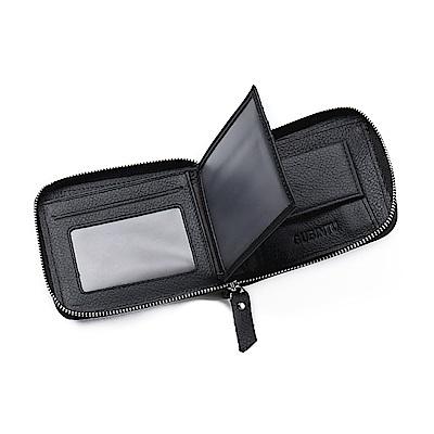 GUBINTU GT1721BK牛皮拉鍊皮夾附零錢包黑色