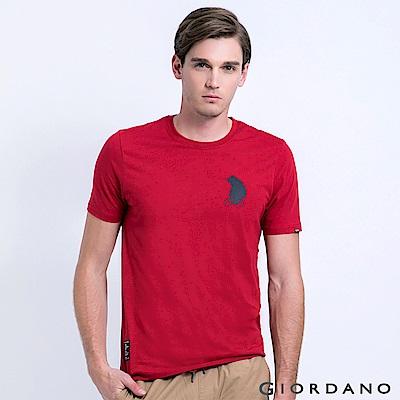 GIORDANO 男裝BOB小熊印花純棉印花T恤-17 高貴紅